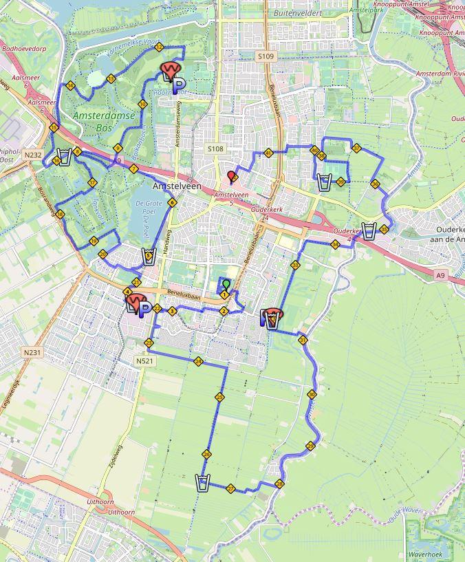 Bedwelming Route map - Lentemarathon #EI25