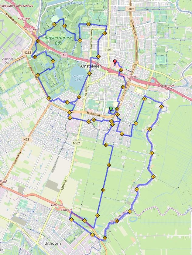 Route Lentemarathon 2020 - hele